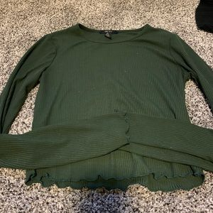 army green crop long sleeve